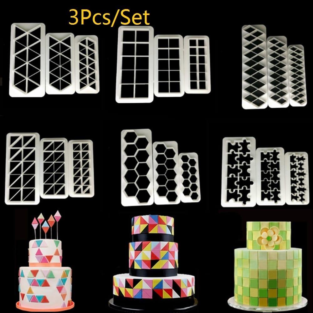 Square Geometric Fondant Cookie Cutter Cake Mold Decorating Tools Baking MF